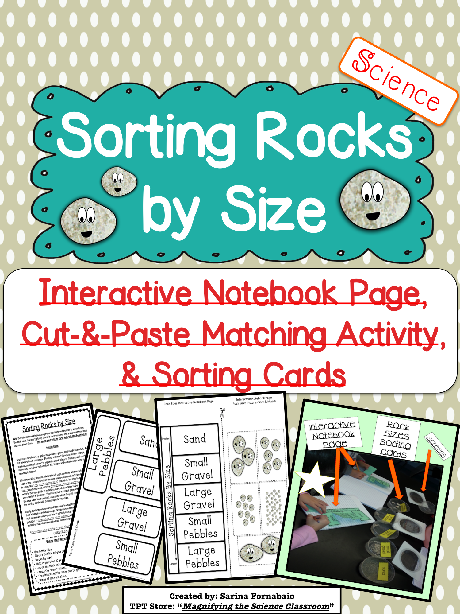 Sorting Rocks By Size Interactive Notebook Page And