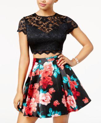 b7633b1ce73 B Darlin Juniors  2-Pc. Lace Printed Fit   Flare Dress