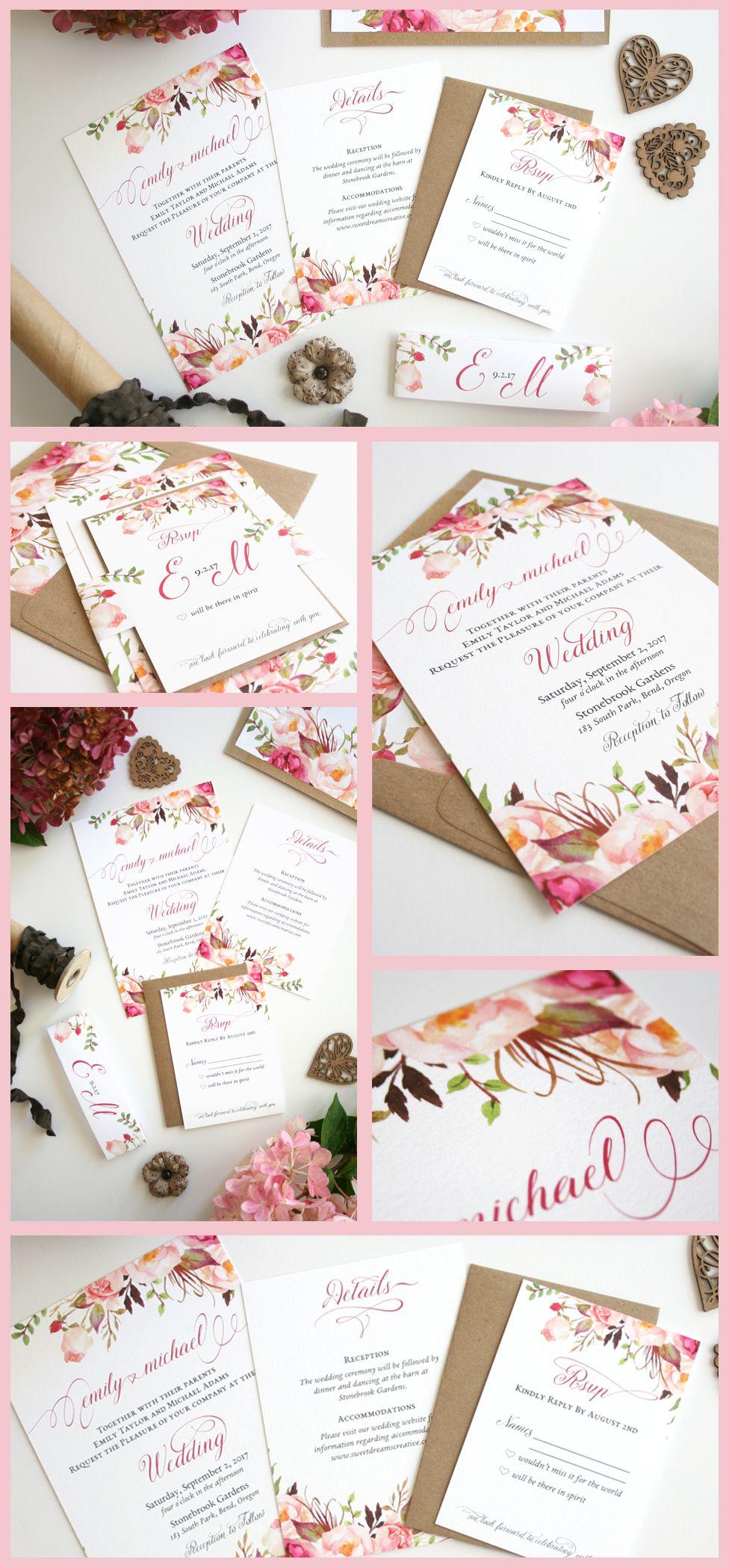 tulip wedding invitation templates%0A Floral Wedding Invitations  Blush Pink  Wedding Invitations  Rustic  Romance Script Collection Sample Set