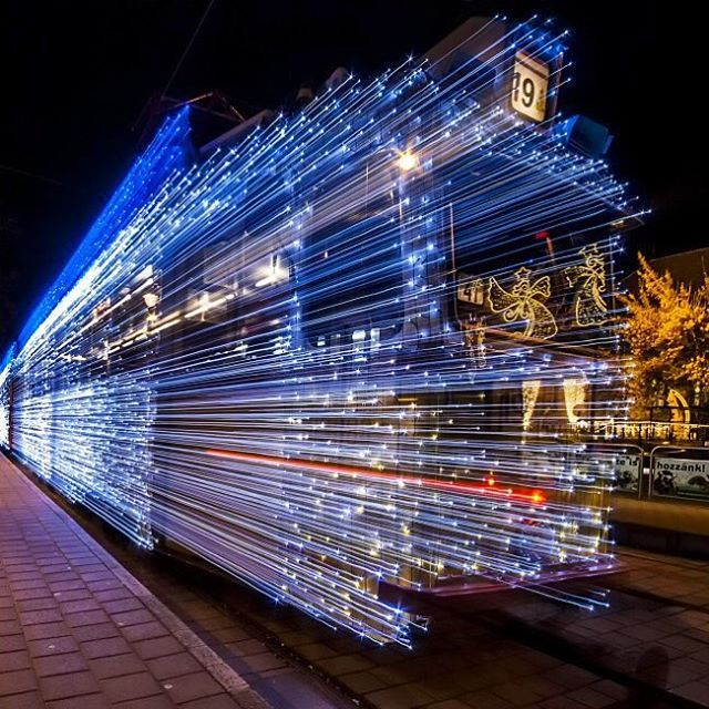 A Long Exposure Photo Of A #Budapest Tram Lit Up With