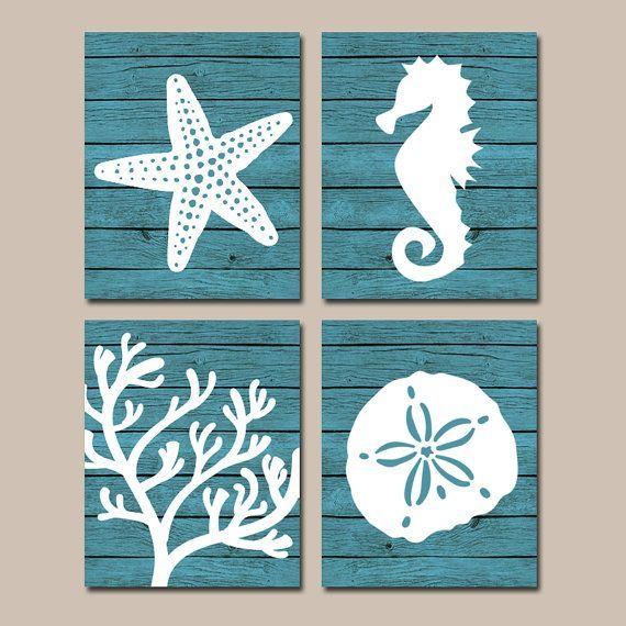 ☆Beach BATHROOM Wall Art, CANVAS or Prints, Nautical Coastal Bathroom Decor,  Aqua Starfish Seahorse, Coral Reef, Wood Plank Design, Set of 4 ☆Incl… ...