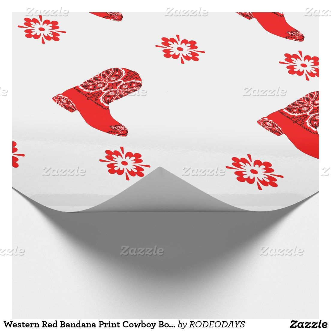 Western Red Bandana Print Cowboy Boot Cutout Wrapping Paper ...
