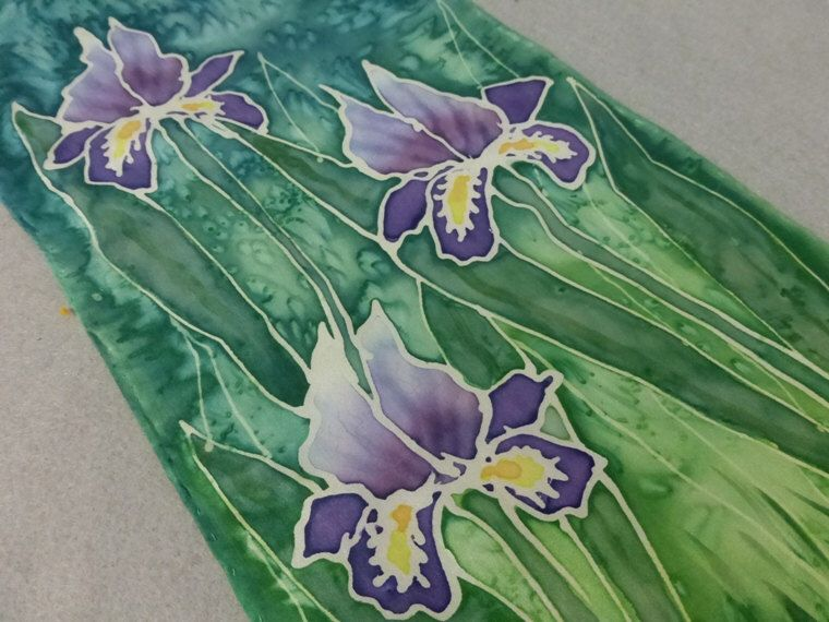 Mother of the Groom gift - hand printed silk iris scarf