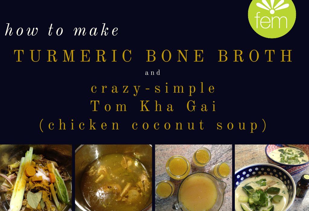 Turmeric Bone Broth - Turmeric bone broth is liquid gold. Why? The turmeric is anti-inflammatory, the gelatin in the broth soothes and heals your gut lining, and the vitamins and minerals leeched out of the bones and veggies are a tonic for your body AND soul. This is a super easy recipe you can freeze and use in your favorite soup recipe!  | FemFusion Fitness