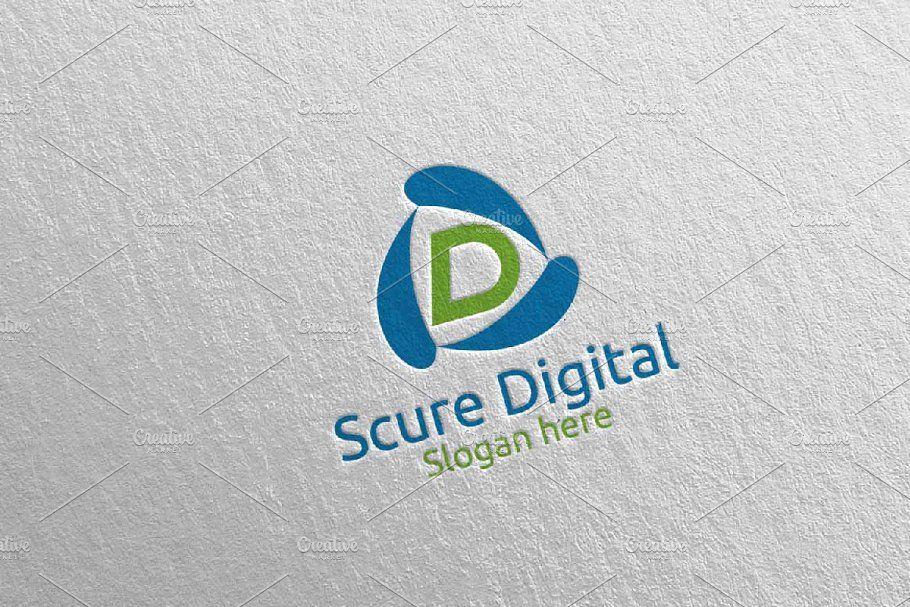 Secure Digital Letter D Logo 79 Lettering Marketing Logo Vector Logo Design