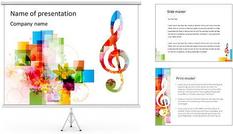 Music Notes PowerPoint Template power point Pinterest Music