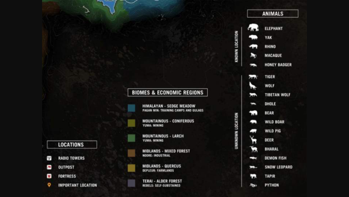 If You Ever Want To Do Hunting Expert On Far Cry 4 Then This Is The List For You Honey Badger Dhole Biomes