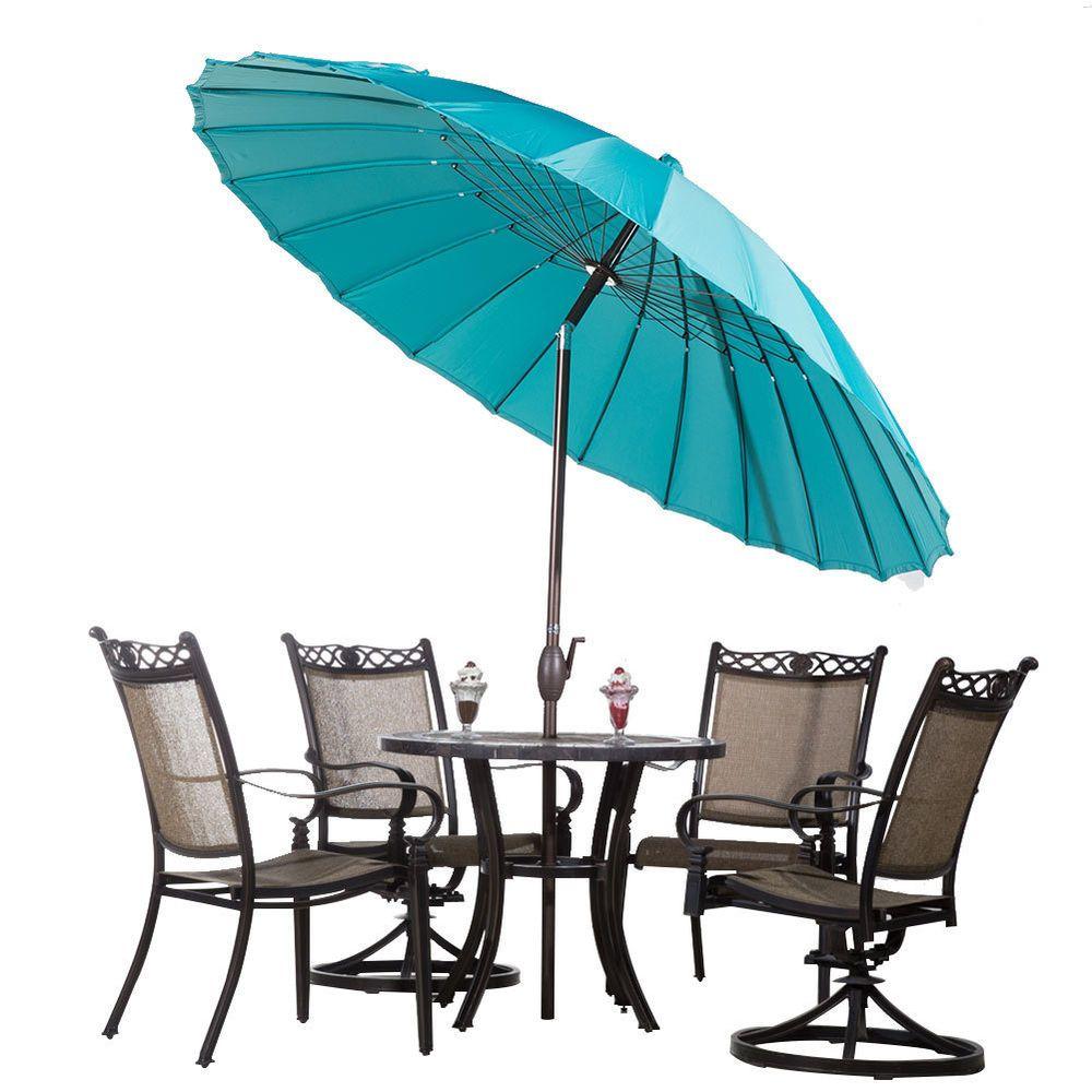 8.5u0027 Round Outdoor Patio Umbrella 24 Steel Wire Ribs W/ Crank Tilt   Turquoise