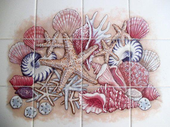 Sea Shells Tiles Only Wall Mural Tile Mural Wall Art Wall