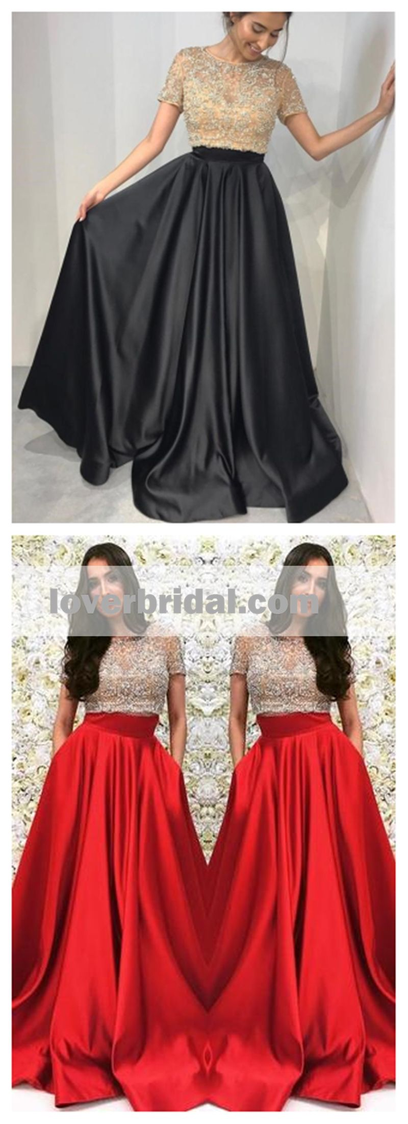 Short sleeve gold beaded a line black long evening prom dresses