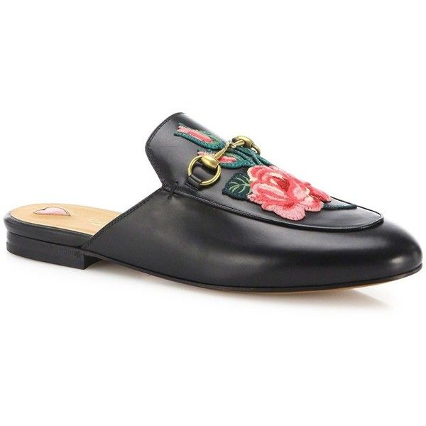 d9b4677b0e42 Gucci Princetown Floral Leather Loafer Slides (2