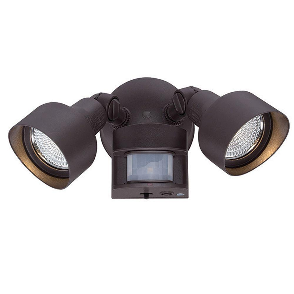 Acclaim Lighting Flood Lights Collection 2 Light Architectural Bronze Motion Activated Outdoor Led Light Fixture Lfl2abzm The Home Depot Outdoor Light Fixtures Led Outdoor Lighting Acclaim Lighting Outdoor led motion sensor light