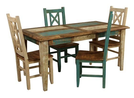 Bombay 5 Piece Dining Set  Turquoise Painting Side Chair And Pine Custom Pine Dining Room Table And Chairs Inspiration Design
