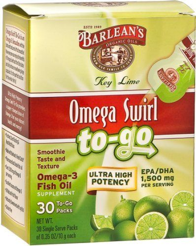 Barlean's Organic Oils Omega Swirl To Go Ultra High Potency Key Lime, 30 Count by Barlean's Organic Oils. $28.98. The same delicious Omega Swirl smoothie taste and texture, but now shelf stable with 30 single-serving pouches per box. Barlean's Omega Swirl to Go Key Lime Fish Oil is an Ultra High Potency product that delivers 1500mg of Omega-3 per serving.