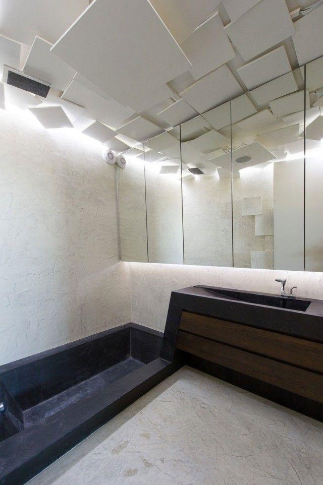 Plafond design 90 idées merveilleuses pour votre intérieur - plafond salle de bain