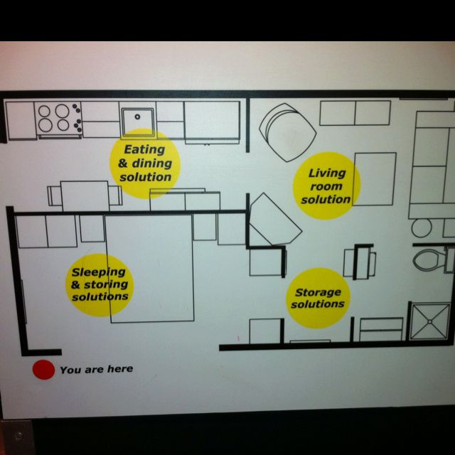 The 525 square foot living space floor plan at Ikea ...