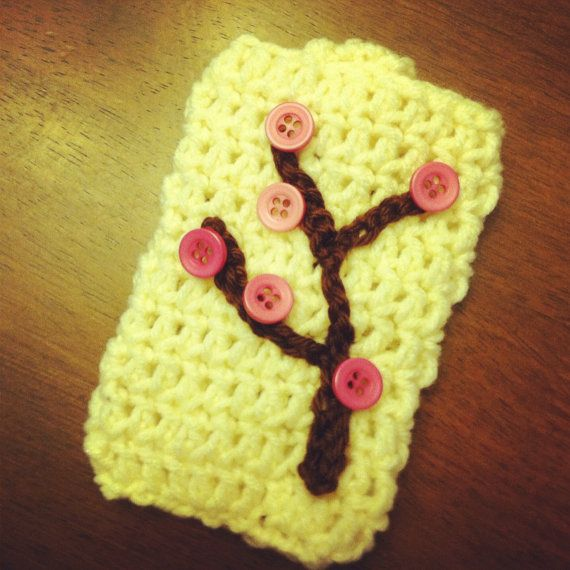 Cherry blossom button tree phone cover. Pattern available, too.