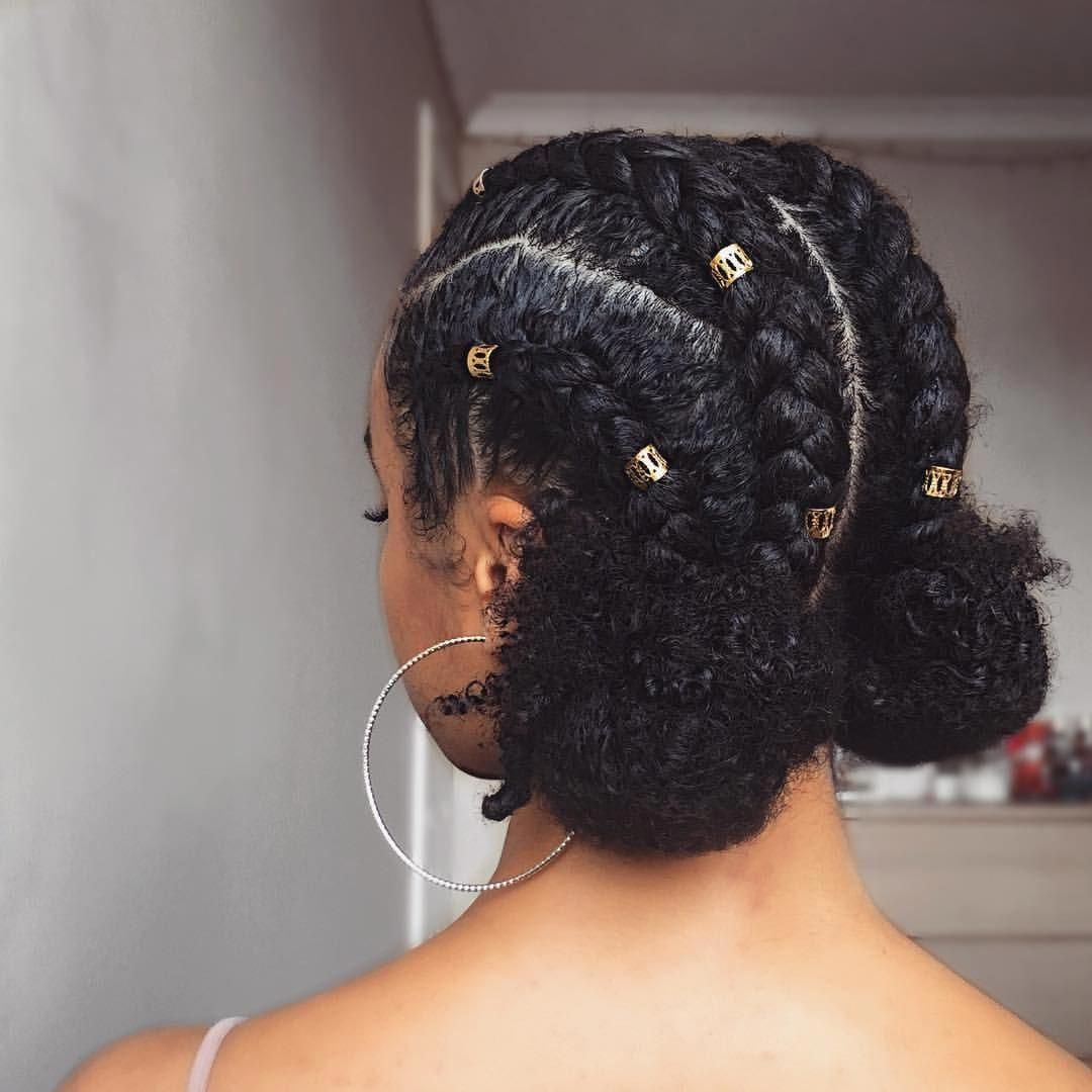 4 Canerows Into 2 Buns Yescanerows Noidontmeancornrows Video For This Style Protective Hairstyles For Natural Hair Hair Styles Medium Length Hair Styles