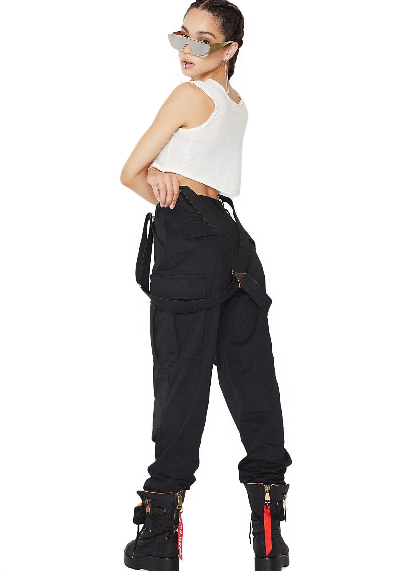 10a776d3a5a Poster Grl Mind Ya Bizness Suspender Cargo Pants
