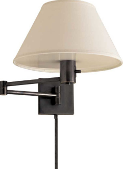 visual comfort studio classic swing arm wall lamp in bronze with linen shade comfort u0026 co classic swing arm wall lamp in bronze with linen shade product