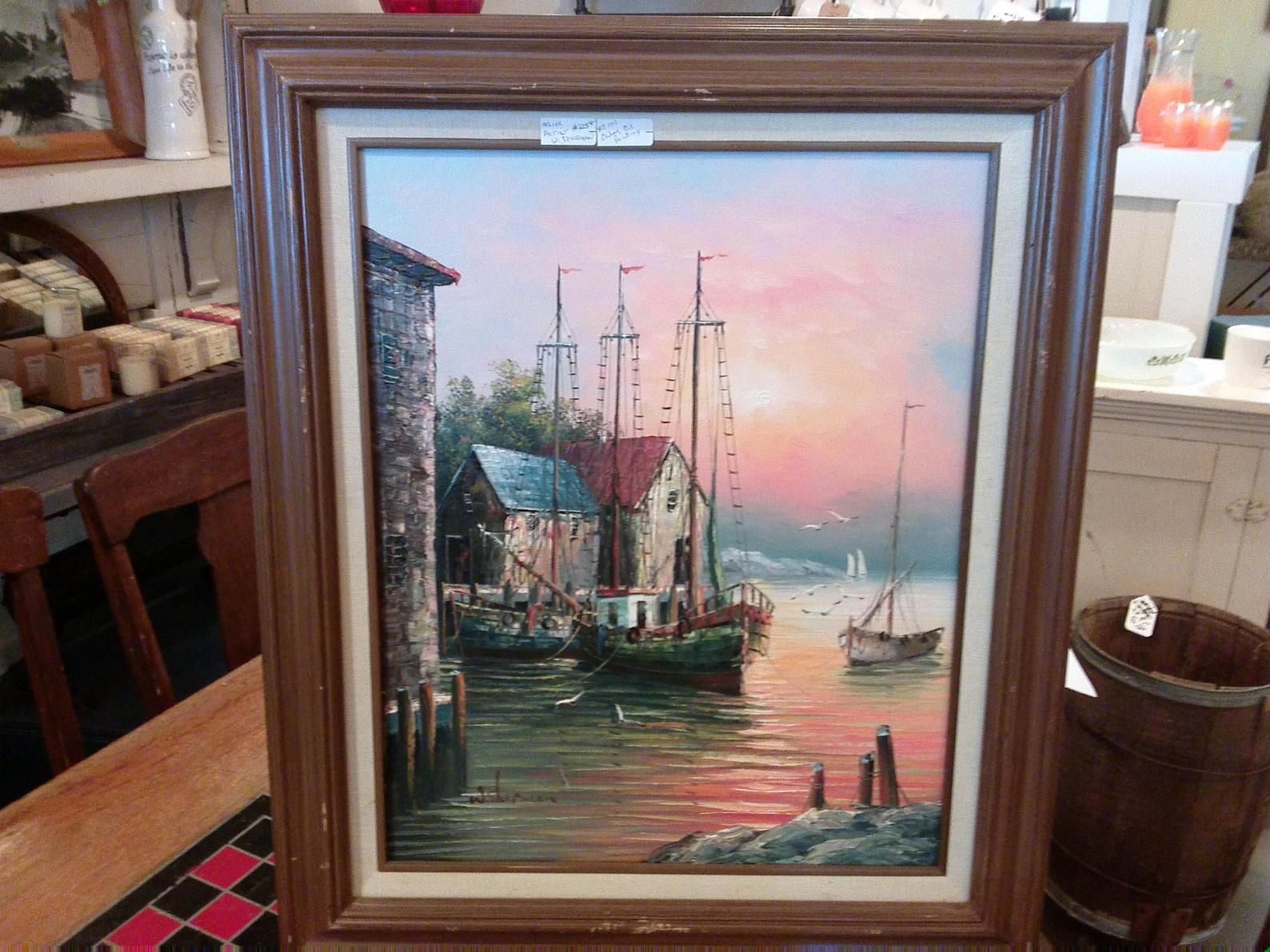 W Sherman Oil Painting Boats Ar Harbor Dock Painting Oil Painting Vintage Painting