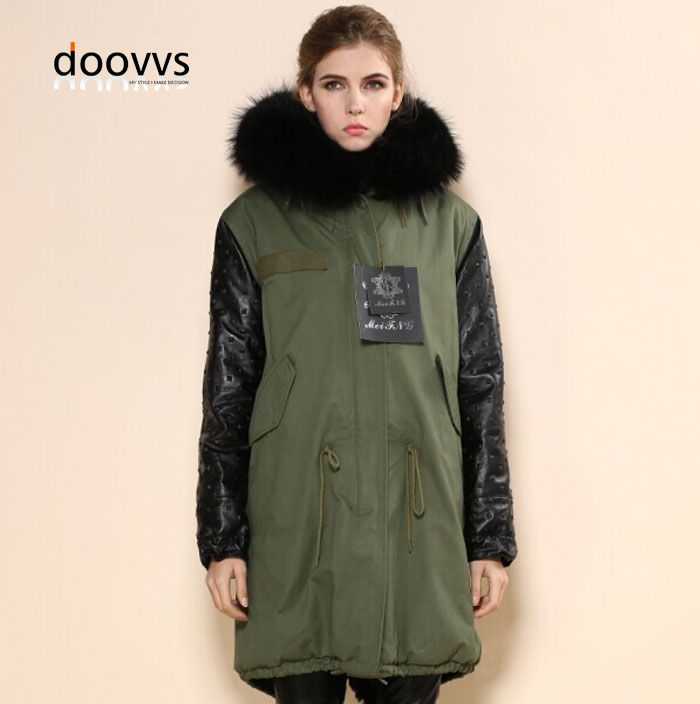 2702a6addc8 Fashionable winter warm leather sleeve army green fur coats Mr Mrs real raccoon  fur collar hooded jacket fur parka -- AliExpress Affiliate's buyable pin.