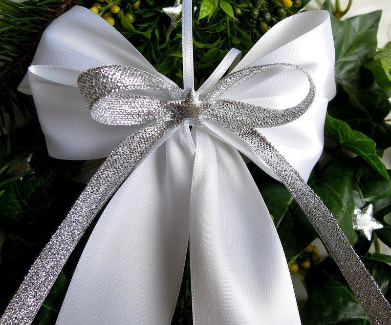 Details Zu 10 Weihnachtsschleifen Weiss Silber Stern