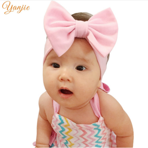 28dc67aad6c1 Infantile Girls Solid Cotton Bow Headband For Kids 2017 Elastic Hair Band  Girls 5   Big Hair Bows Headbands Hair Accessories