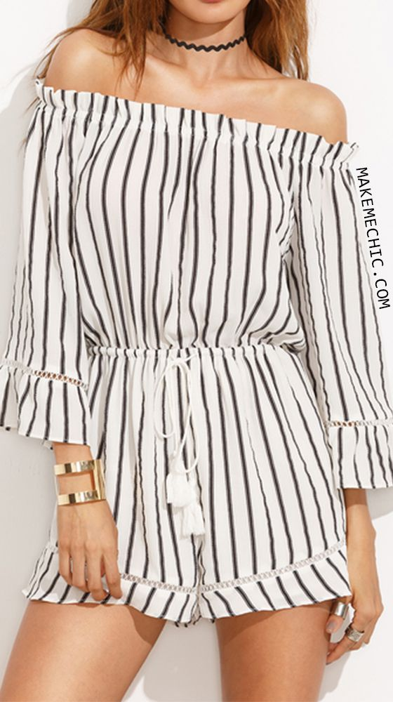 b2a7e8840db Black and White Striped Off The Shoulder Drawstring Jumpsuit ...