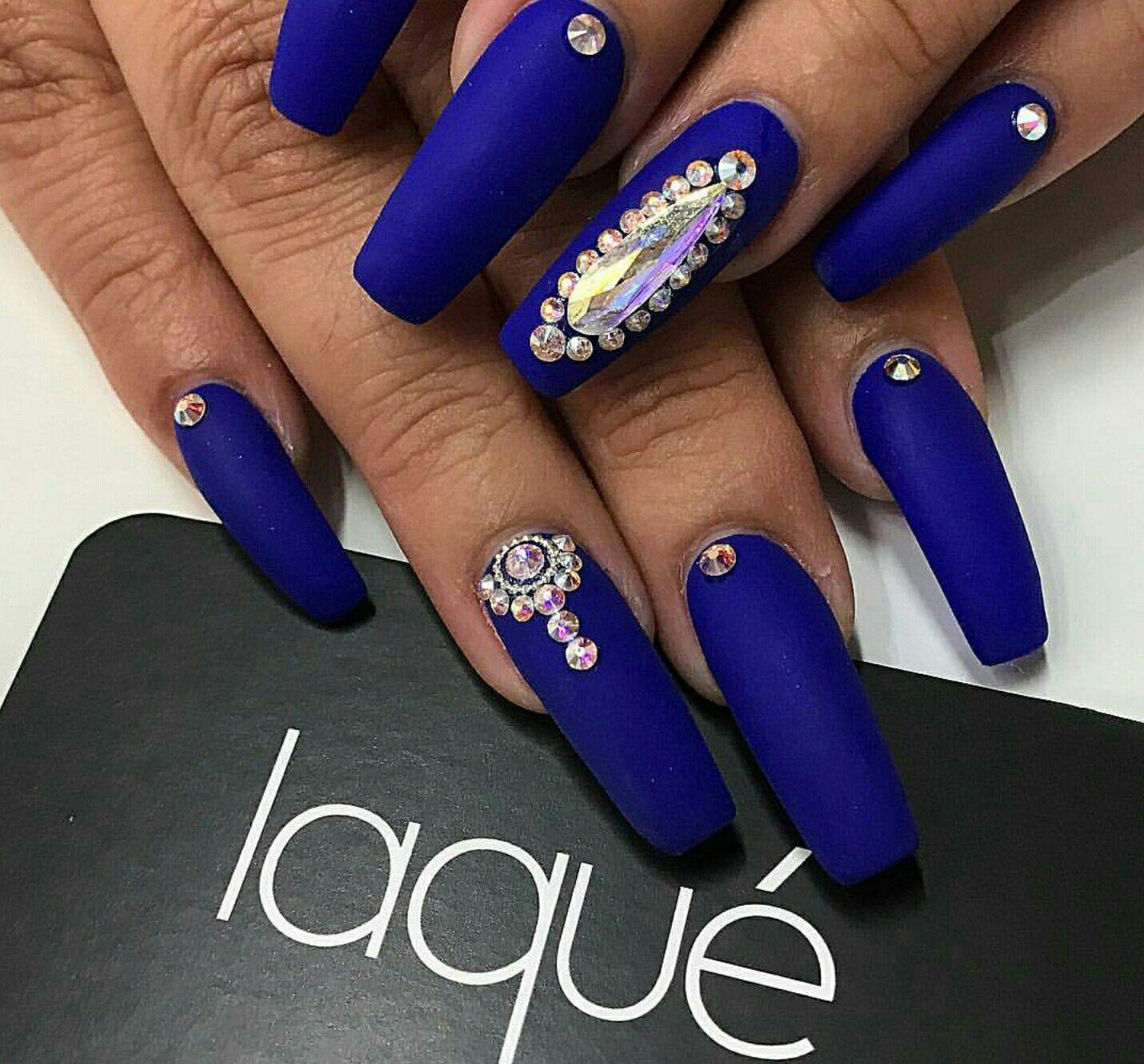 Matte Nails Blue Nails Acrylic Nails Nails With Rhinestones Rhinestone Nails Blue Nails Blue Stiletto Nails