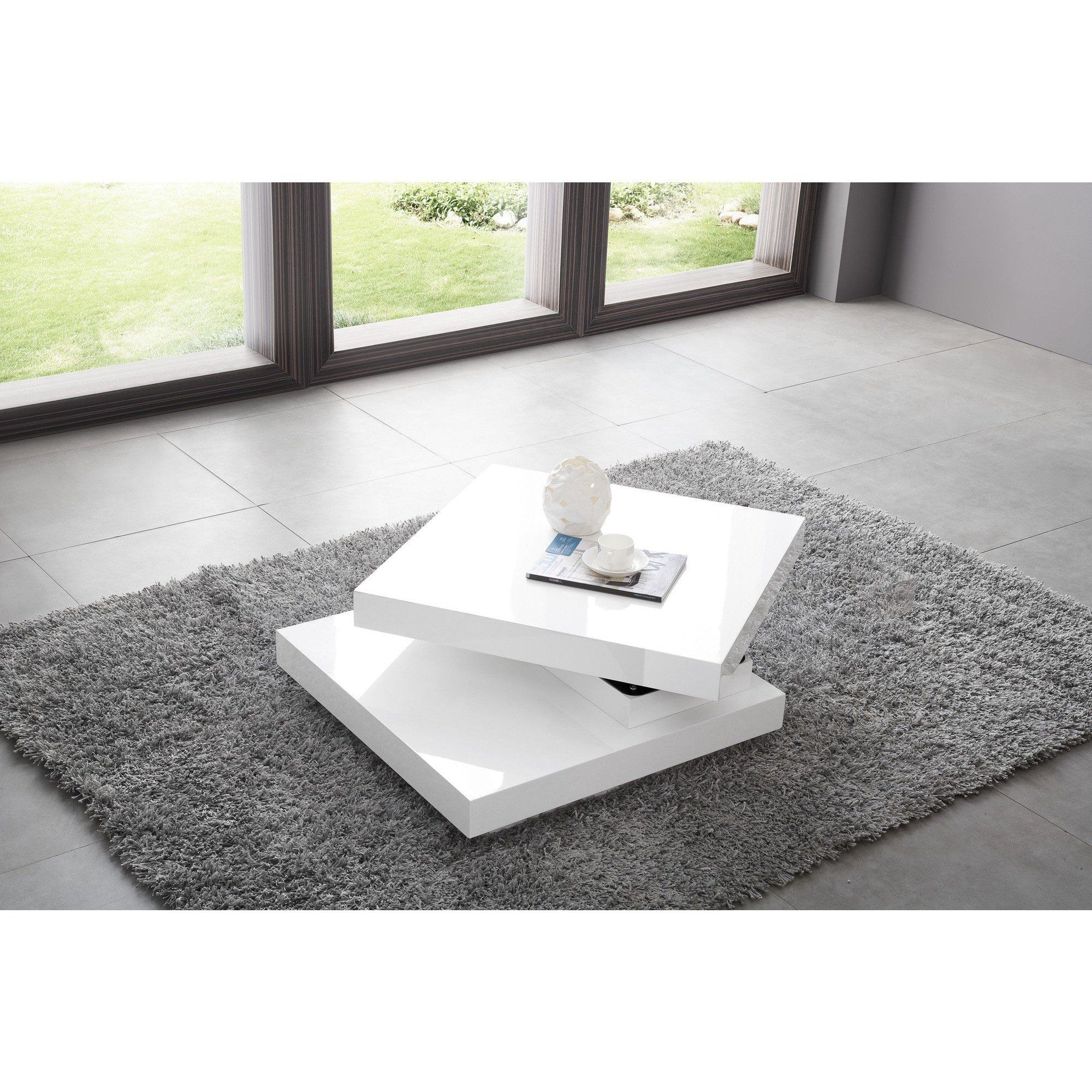Table Basse Carree A Plateau Pivotant Design Blanc Laque Table Basse Design Table Basse Blanc Laque Table Basse Carree