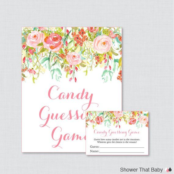 Floral Baby Shower Candy Guessing Game Printable - Guess How Many