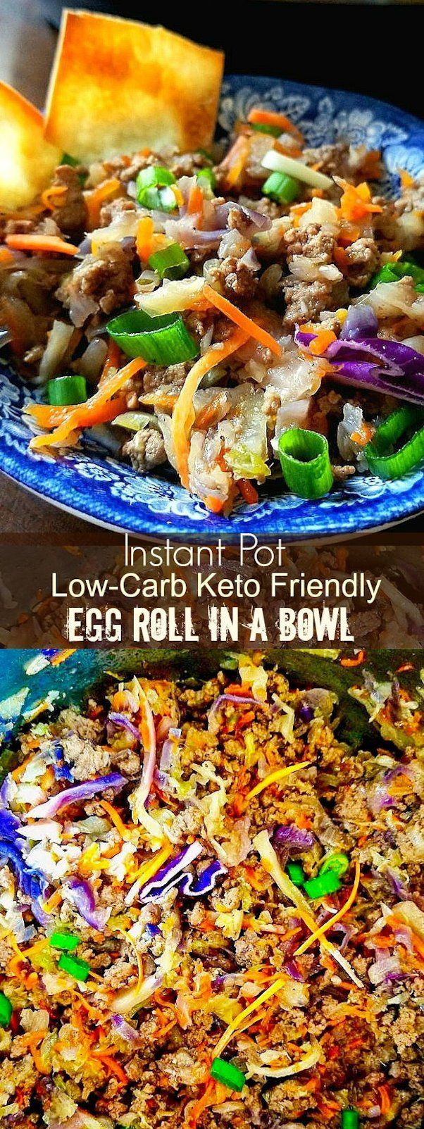 Instant Pot Egg Roll Bowls, Low Carb and Keto Friendly #lowcarb #keto #eggrolls #eggrollinabowl