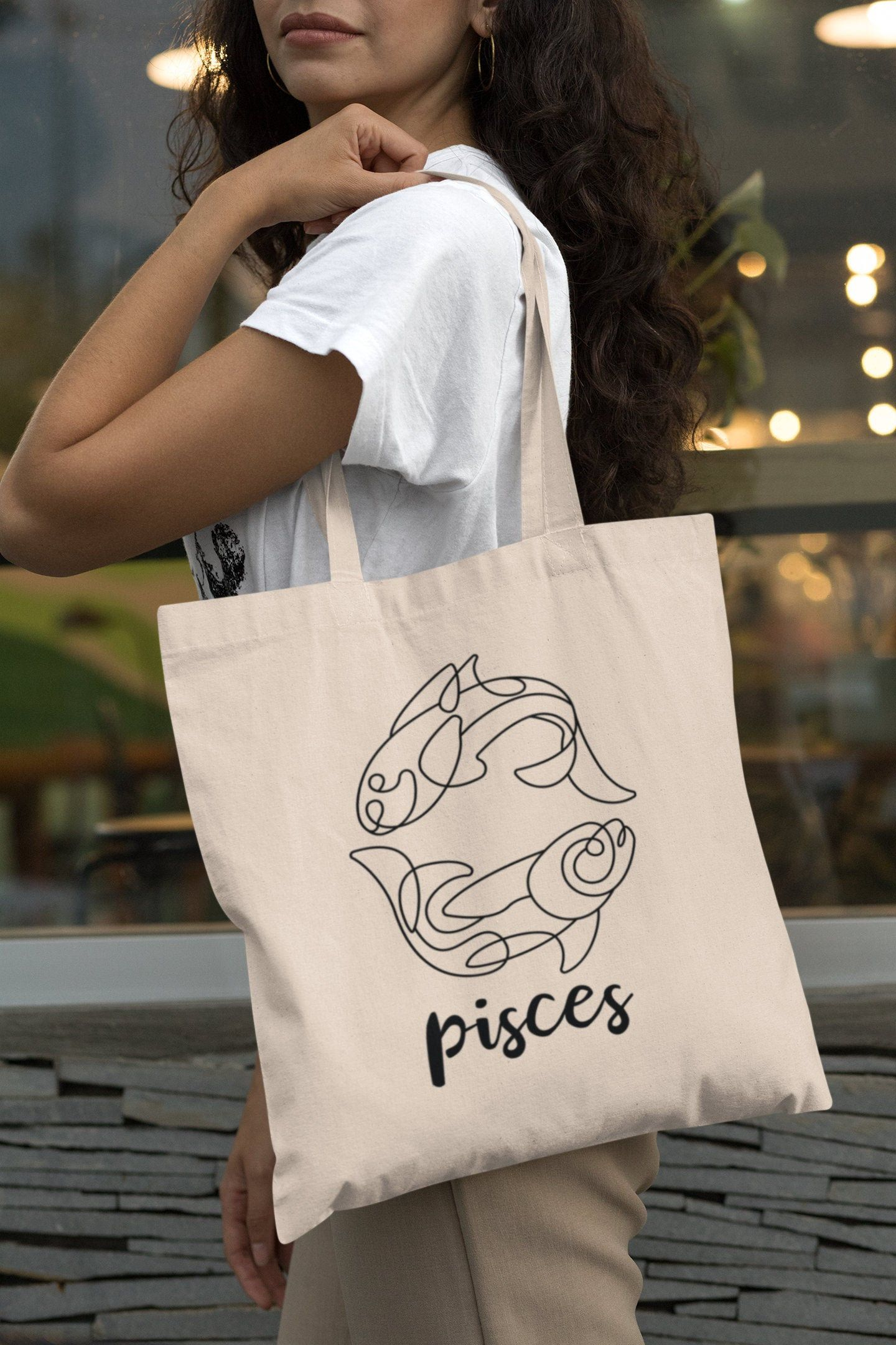 Hand made custom illustrated PISCES tote bag