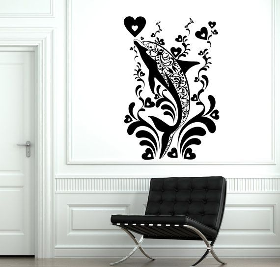 Stacey Kurtz Art For Mural In Boys: Wall Decal Dolphin Ocean Marine Ornament Tribal Mural By