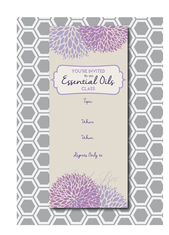 Essential Oil Class Printable Invitation 4 x by RoyalBeePaperie