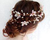 blush pink wedding head piece - rustic chic, flower head wreath.