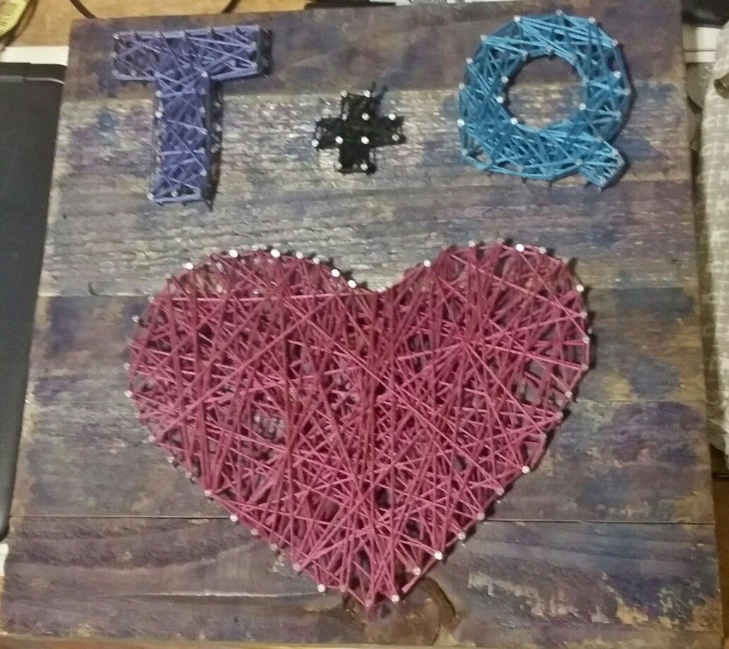 String art...just finished this today. Purple and blue watercolor