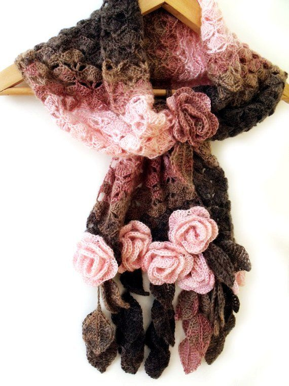 Crochet scarf with freeform 3D flowers and leaves prayer shawl brown ...