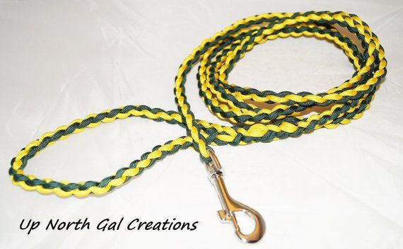 Paracord Dog Leash, Green and Yellow, Green Bay Packers
