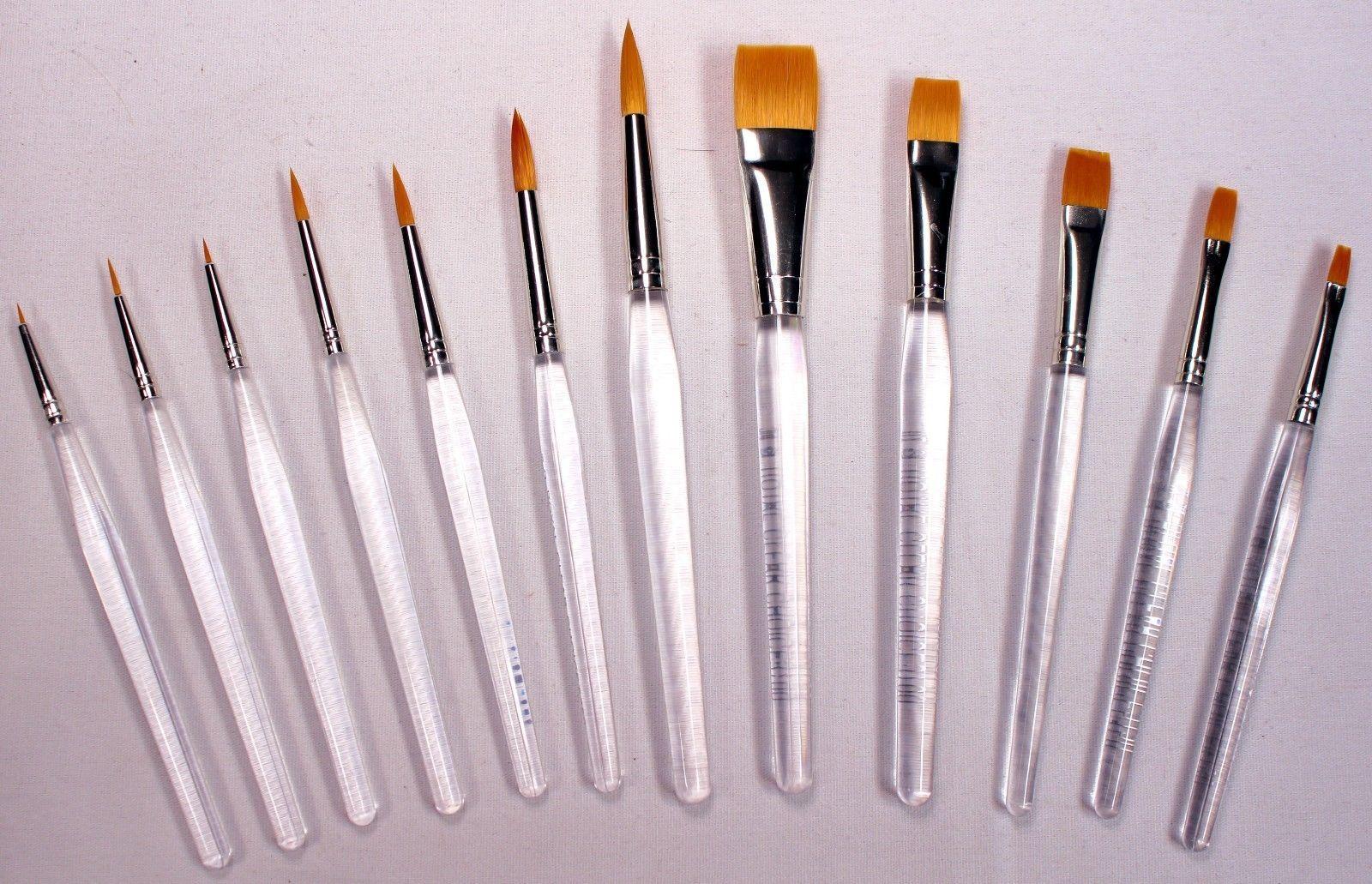 Artists Brushes 57209 12 Gold Taklon Bristle Clear Acrylic Handle Art Craft Hobby Paint Brushes Buy It Now Clear Acrylic Crafts Arts And Crafts Supplies