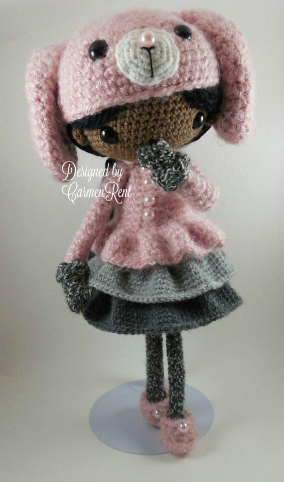Amigurumi Doll Pdf : June and her rabbit amigurumi doll crochet pattern pdf