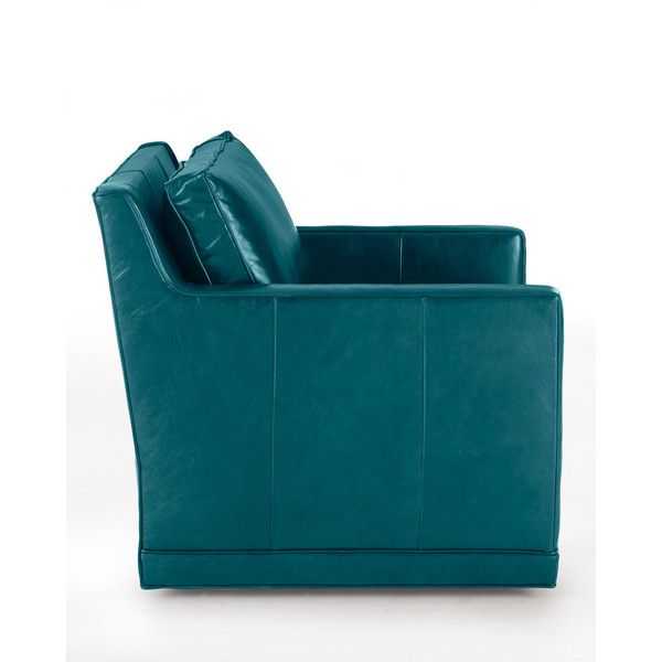 Nina St. Clair Peacock Blue Leather Swivel Chair (u20ac1.625) ❤ Liked On