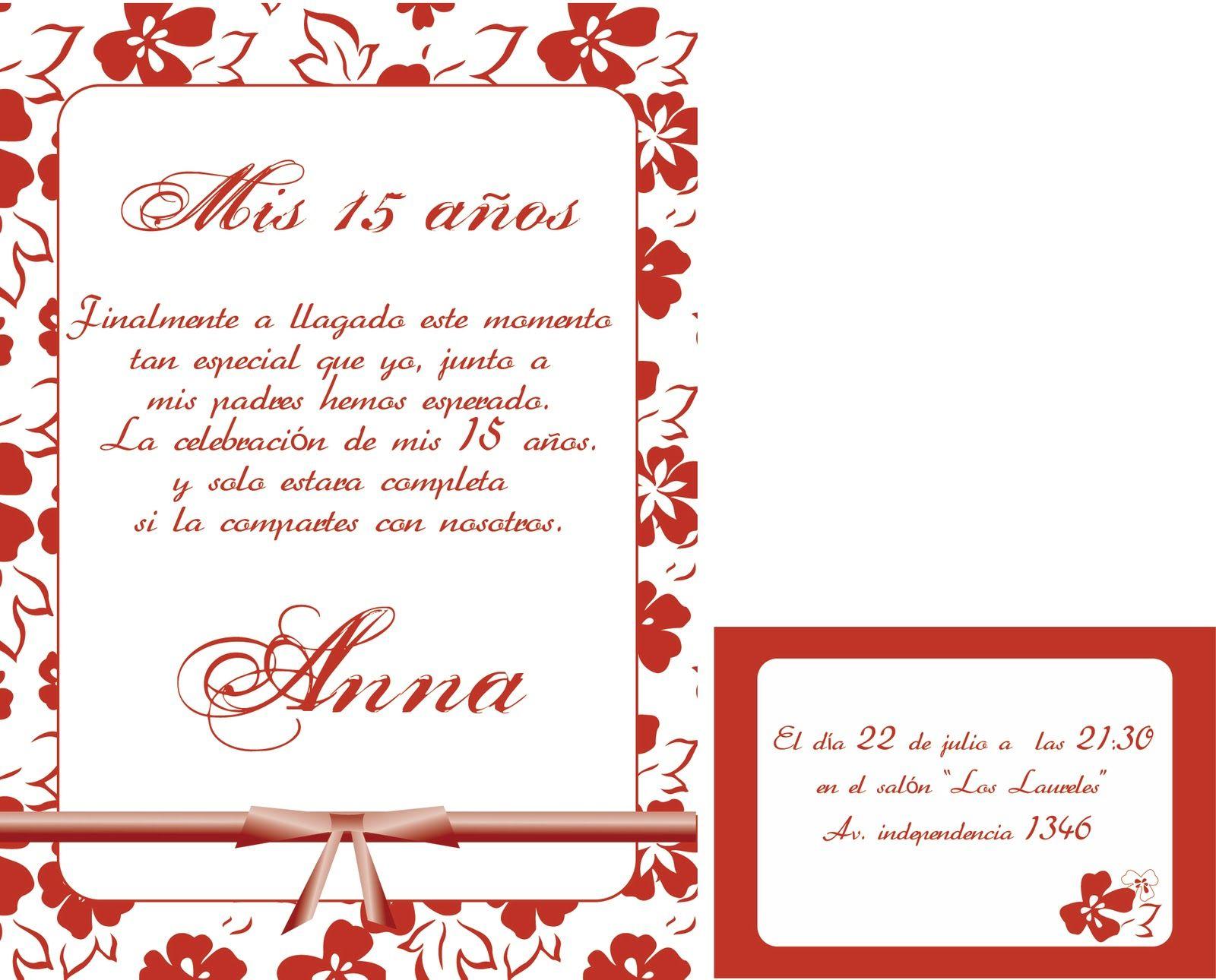Tarjetas De Invitacion Cumpleaños 15 Años Para Imprimir