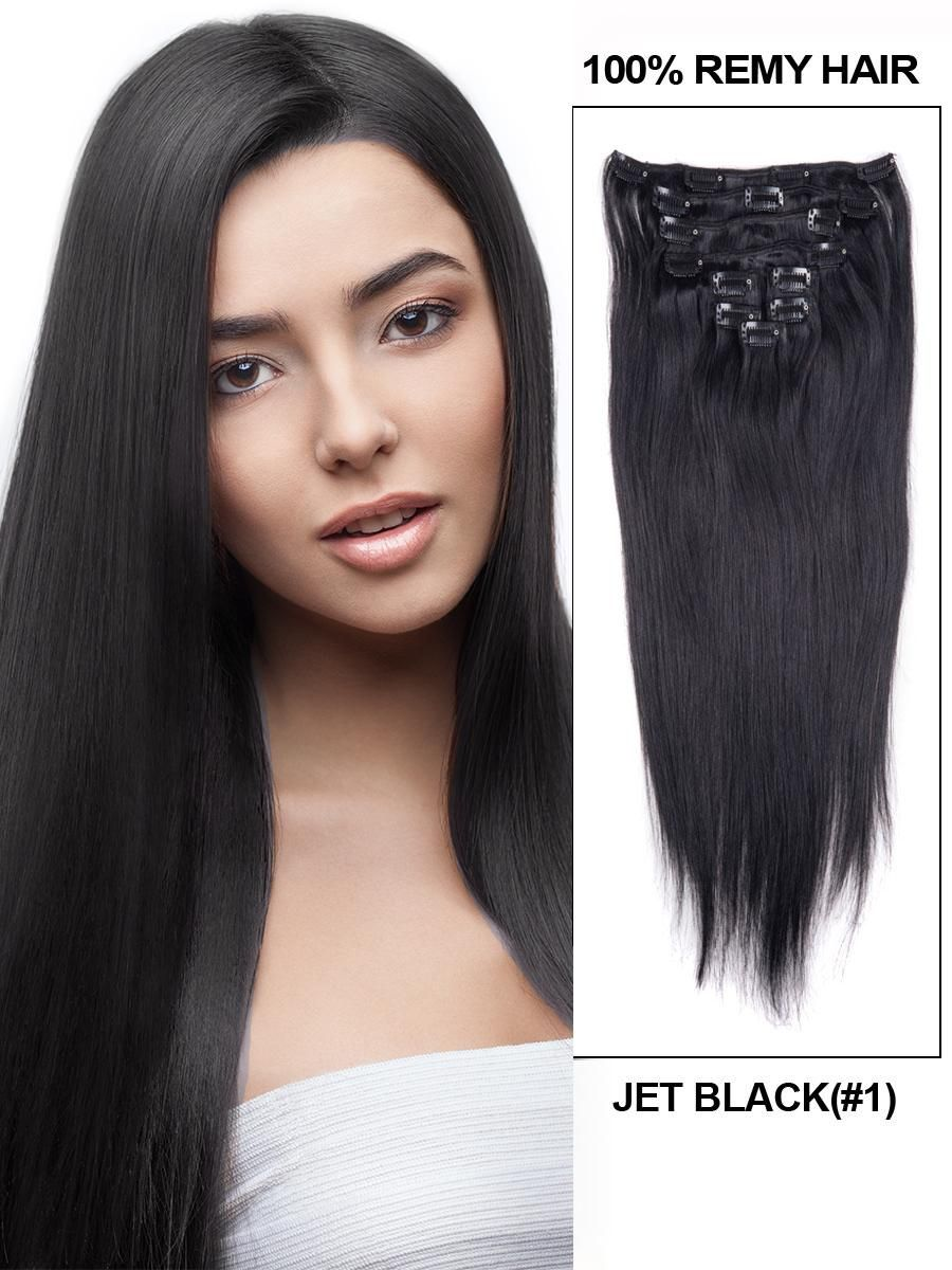 16 Inch 10pcs Straight Brazilian Clip In Remy Hair Extensions 1 Jet Black