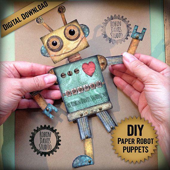 Articulated robot, digital robot printable, Paper robot