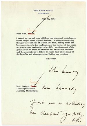June 12, 1963 John F Kennedyu0027s First Draft, Partially Handwritten - condolence letter