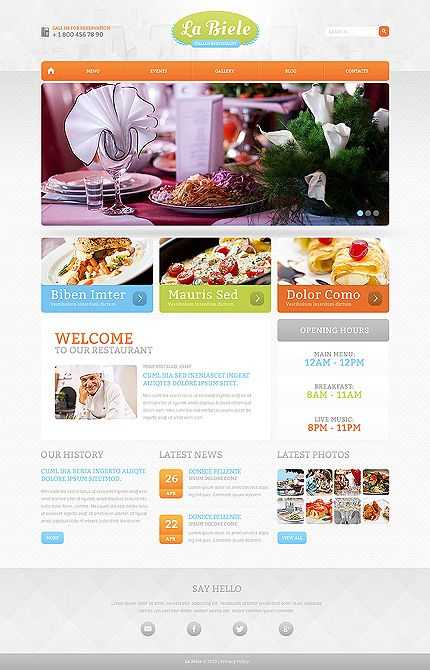 Template 47585 - Restaurant Responsive Drupal Template with