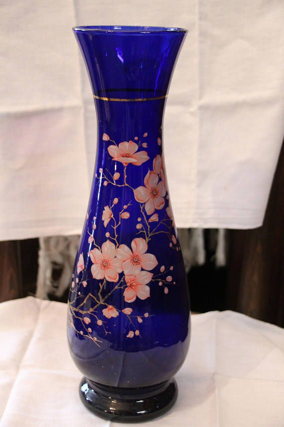 French Vintage Cobalt Glass Vase French Antique Blue Cobalt Hand