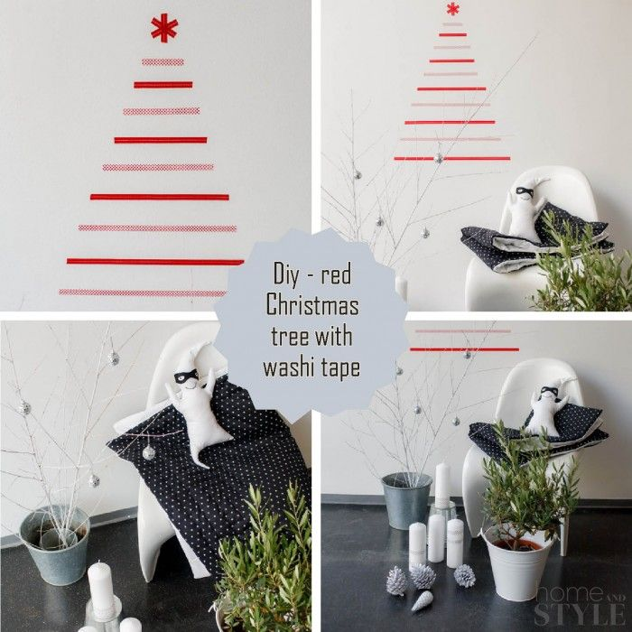 A washi tape christmas tree on a wall christmas a washi tape christmas tree on a wall solutioingenieria Images